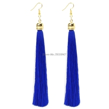 2017 Vintage Long tassel long big earrings fashion Thread Fringe Drop brinco Earring For Women-W128