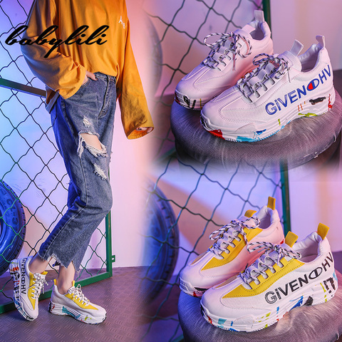 2019 Fashion White Sneakers for Women Breathable Graffiti Platform Sneakers Luxury Shoes Women Designers Womens Vulcanize Shoes Pakistan