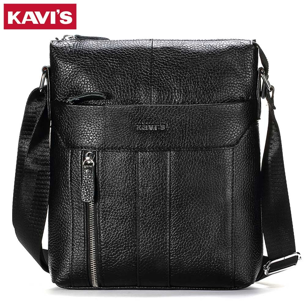 KAVIS HOT!!! Genuine Leather Men's Crossbody Bag Casual Business High Quality Mens Messenger Bags Vintage Men Handbags Promotion