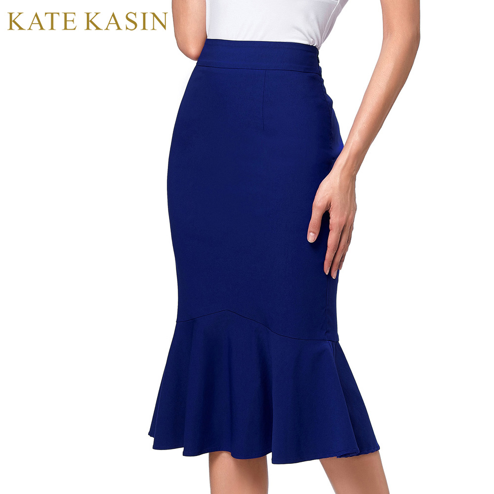Kate Kasin OL Office Skirts Womens Bodycon Midi Skirt Elegant Ruffles Pencil Mermaid Skirts Party Formal Occasion Jupe