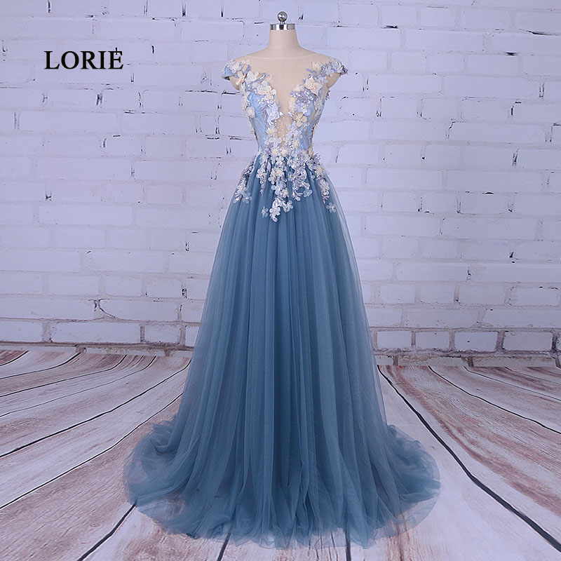 Fustani i mbrëmjes së partisë LORIE për një lugë femër A-Line të dekoruar me Flower Tull Blue Prom Dress for Diplomimi vestido de festa 2019