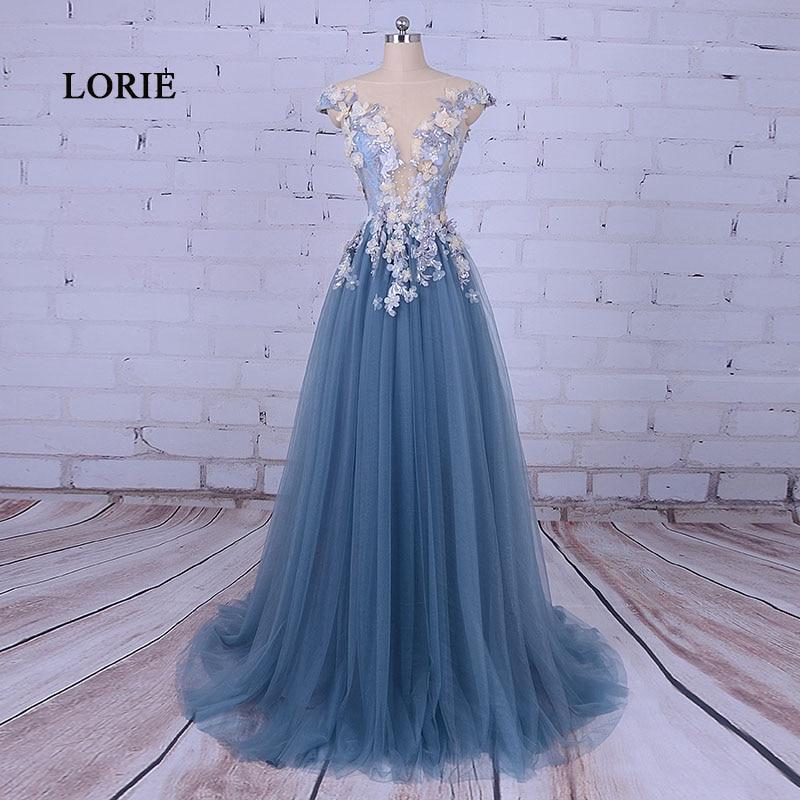 LORIE 파티를위한 파티 이브닝 드레스 Scoop A 라인은 플라워 Tull Blue Prom Dress for Graduation vestido de festa 2019로 꾸며져 있습니다.