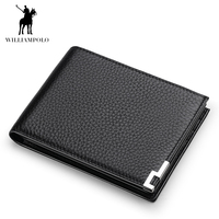 WILLIAMPOLO Geunine Leather Wallet Men Male Small Wallet Slim Mini Perse Money Bag PL175115
