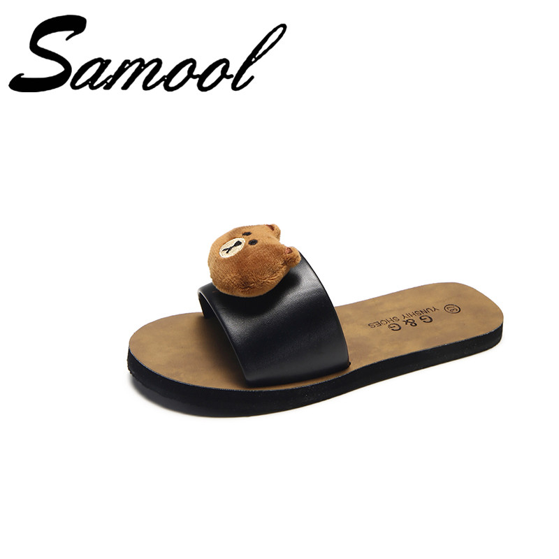 New Summer Women Open Toe Cartoon Cute Slippers Outdoor&Indoor Rubber Sole Anti Slip Flip Flop Bathroom Floor Home Slippers Sx1