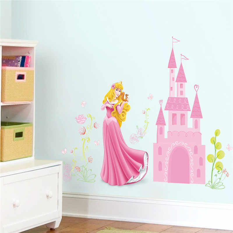 Garden Beauty Princess Castle Tree Flower Floral Plant Height Measure Wall Sticker For Kids Room Butterfly House Home Decoration