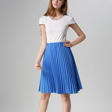 8 Colors Fashion Organist Pleated Solid Color Leisure Slim women's Lady High Waist knee-length Skater Skirt Jupe Femme TT1151