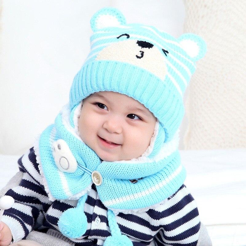 Autumn Winter Baby Hat Scarf Kids Hat Caps Children Scarf-Collar Boys Girls Warm Beanies Fashion Flower Infant Hats set