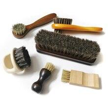 6 шт набор конский волос свинья щетина щетка для обуви, масло для полировки, скраб замша мех, чистая кожа обувь пепел