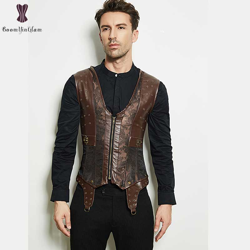 Mens Corset Steampunk Style Coffee Jacket Synthetic Leather Sprial Steel Boned Outwear Men Punk Corsets Zipper