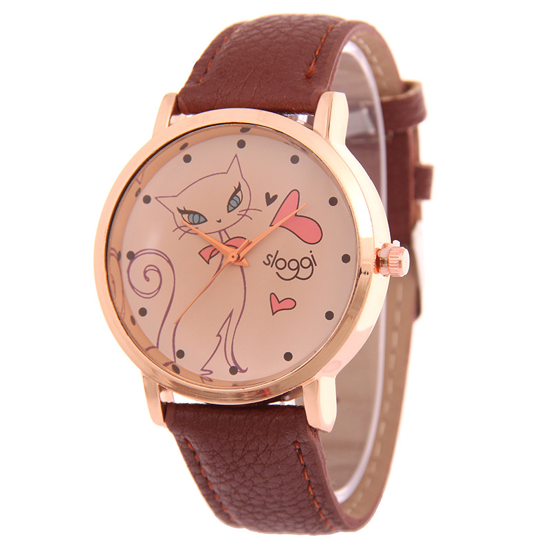 MINHIN Fashion Quartz Watch Leather Wrist Watch Female Cat Design Student Clock Wholesale Relogio Feminino