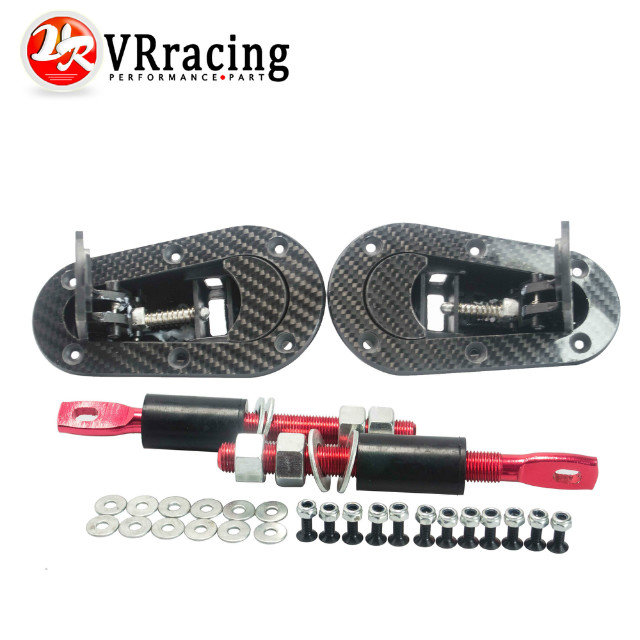 VR RACING - New Universal Carbon Fiber Racing Lock Plus Flush Hood Latch Pin Kit JDM style without key VR-BPK-D31