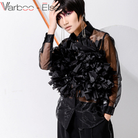 VARBOO_ELSA black Mesh blouse Tassel Thin Women's Blouses Shirts Long Sleeve Tops Transparent Sexy Female Shirt Casual Clothing
