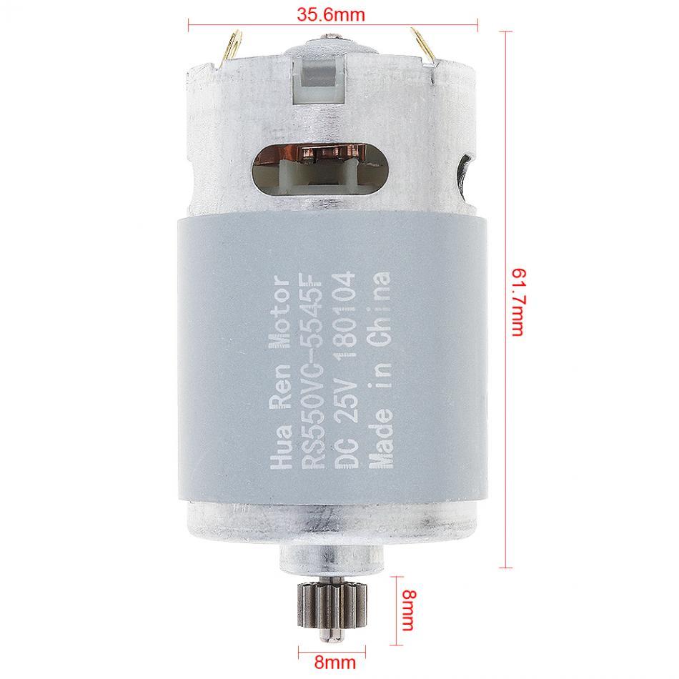 """טלוויזיות 25-29 12 שיניים מנוע RS550 25V 19,500 סל""""ד מנוע DC עם שיניים שתי מהירויות 12 ו תיבת ההילוכים מומנט גבוה עבור מקדחות חשמליות / מברג (2)"""