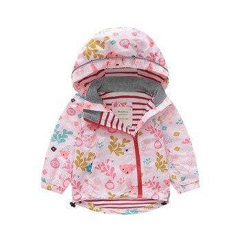 M95 Spring Autumn Fashion Boys Coat Hoodie Child Jacket Girls Tops Windbreaker Cartoon Bear Print Thin Coat Summer Child Jacket
