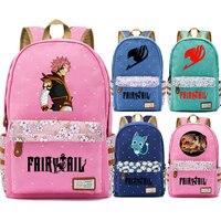 Anime Fairy Tail Natsu Dragon Happy Cat Flower Dot Boy Girl School bag Women Bagpack Teenagers Schoolbags Canvas Femme Backpack