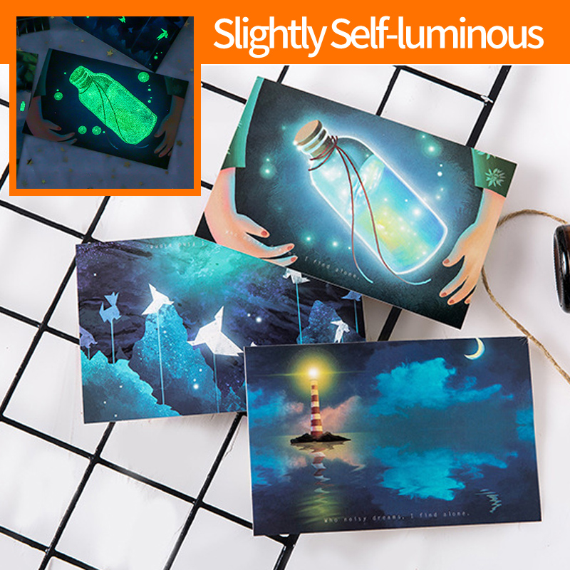 30Sheets/Set Slightly Self-luminous Looking For Light Luminous Card Postcard Greeting Message Card Christmas And New Year Gifts