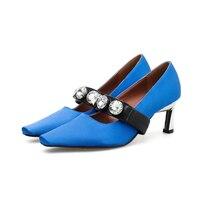 Ladies Pumps Elegant Women High Heels Low Heel Rhinestone Womens Shoes Heels Fashion Office Ladies Shoes With Heels Black Shoes