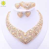 Fashion African Wedding Bridal Costume Jewelry Sets Dubai Indian Gold Plated Heart Shaped Necklace Earrings Ring