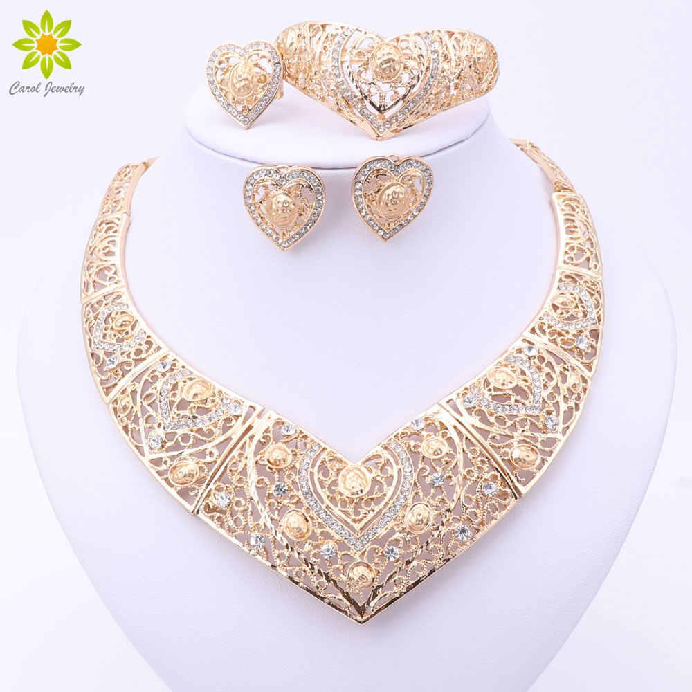 Mode Afrikanische Hochzeit Braut Kostüm Schmuck Sets Dubai Indische Gold Farbe Herz Formte Halskette Ohrringe Ring Sets Für Frauen