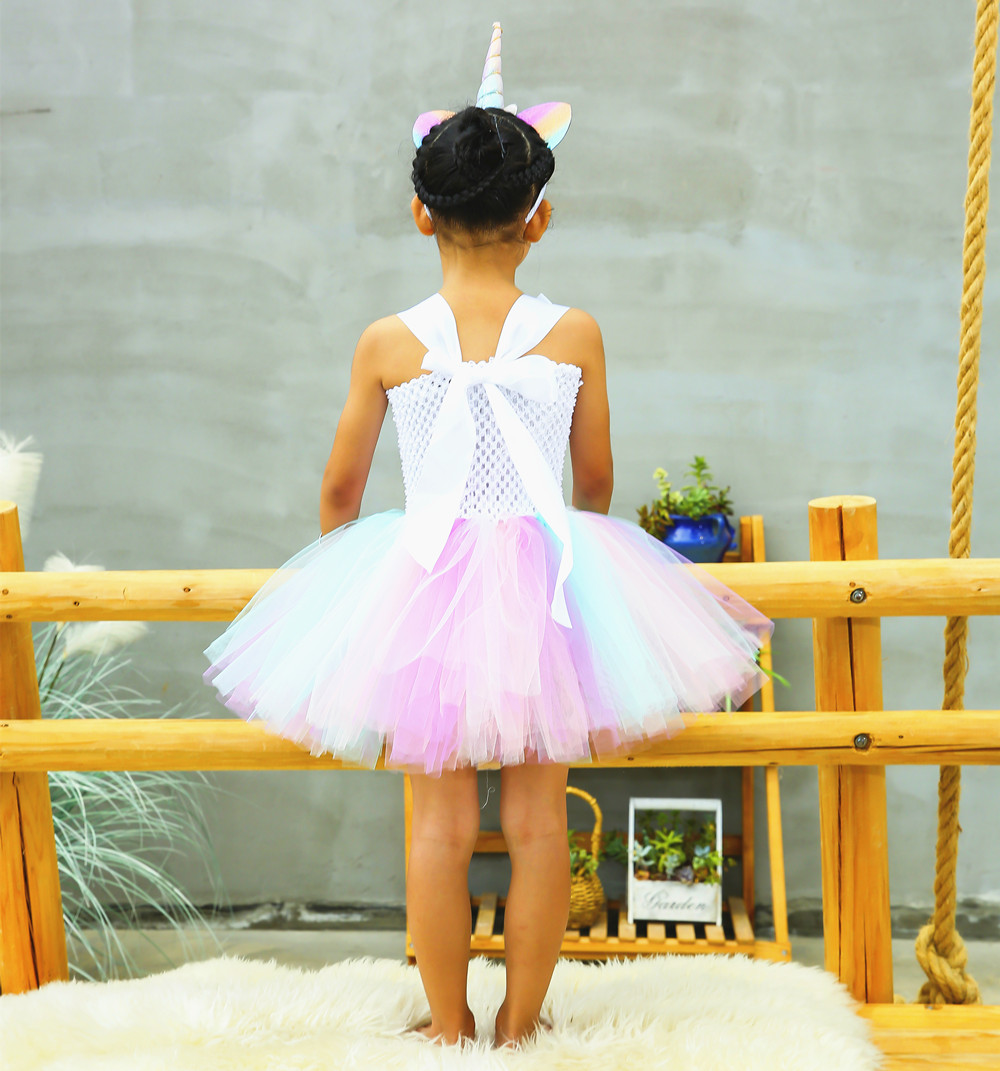 Cute Girl Unicorn Tutu Dress for Little Kid Flower Pony Birthday Party Knee Length Dress Outfit Pastel Unicorn Halloween Costume (8)