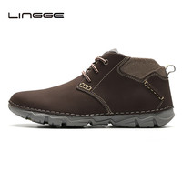 LINGGE Mens Casual Leather Shoes Mesh Breathable Design Men Boots Lace Up Ankle Botas For Man