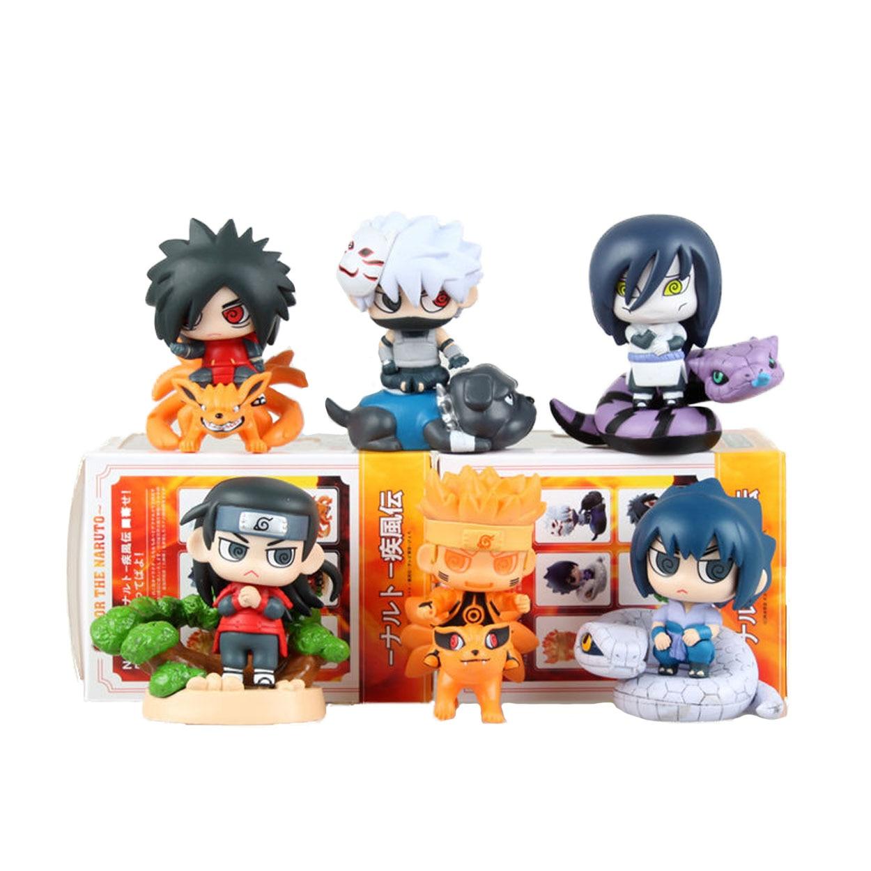 8 CM NARUTO 6 pièces/ensemble Kakashi Hatake Uzumaki Naruto Orochimaru Sasuke Uchiha Senju figurine en PVC jouet cadeaux