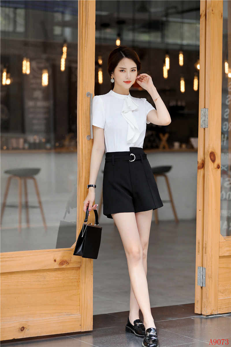 b99130d5bb4 ... Summer Fashion Office Ladies Blouses Women Shirts with Ruffles Short  Sleeve Work Wear Clothes OL Style ...
