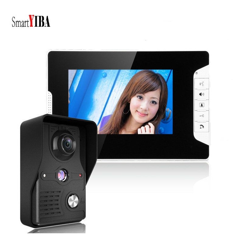 SmartYIBA Rainproof Video Doorbell Intercom 7 Inch Doorphone Door Intercom Interphone with Camera IR 1000TVL Monitors
