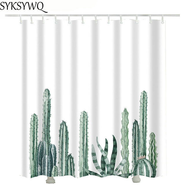 Printed Green Cactus Curtains For Bathroom 2018 Drop Shipping Home Decor  Fabric Shower Curtain