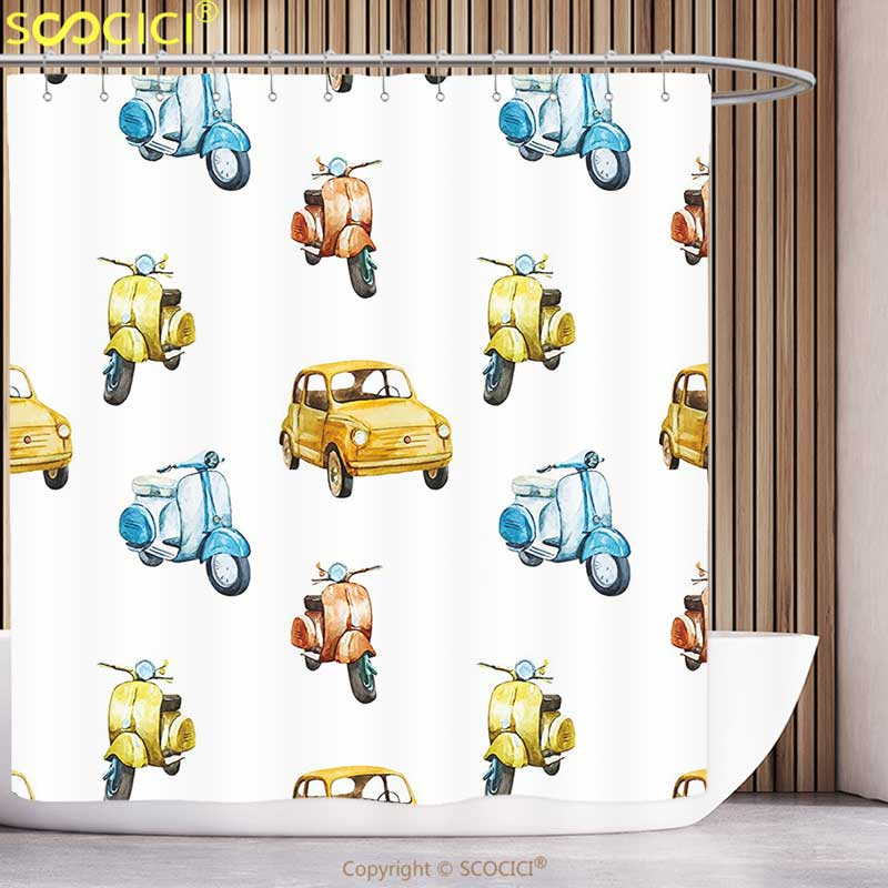 Fun Shower Curtain Vintage Colored Retro Italian Motorcycle Scooter Cars Watercolored Like Pattern Artwork Multicolor Bathroom
