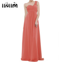iiniim Women Ladies Chiffon One shoulder Pleated Wedding Elegant Birthday Party Dress Long Evening Natural Party Prom Gown Dress