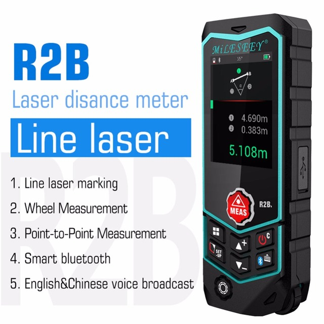 Mileseey R2/R2B Laser Rangefinder Laser Range Finder Tape Measure Roulette with Wheel Laser line lev