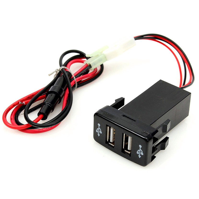 Double Port USB Car Socket Lighter Charger Adapter 12V-24V For Toyota VIGO Durable Material Easy to Install and Use