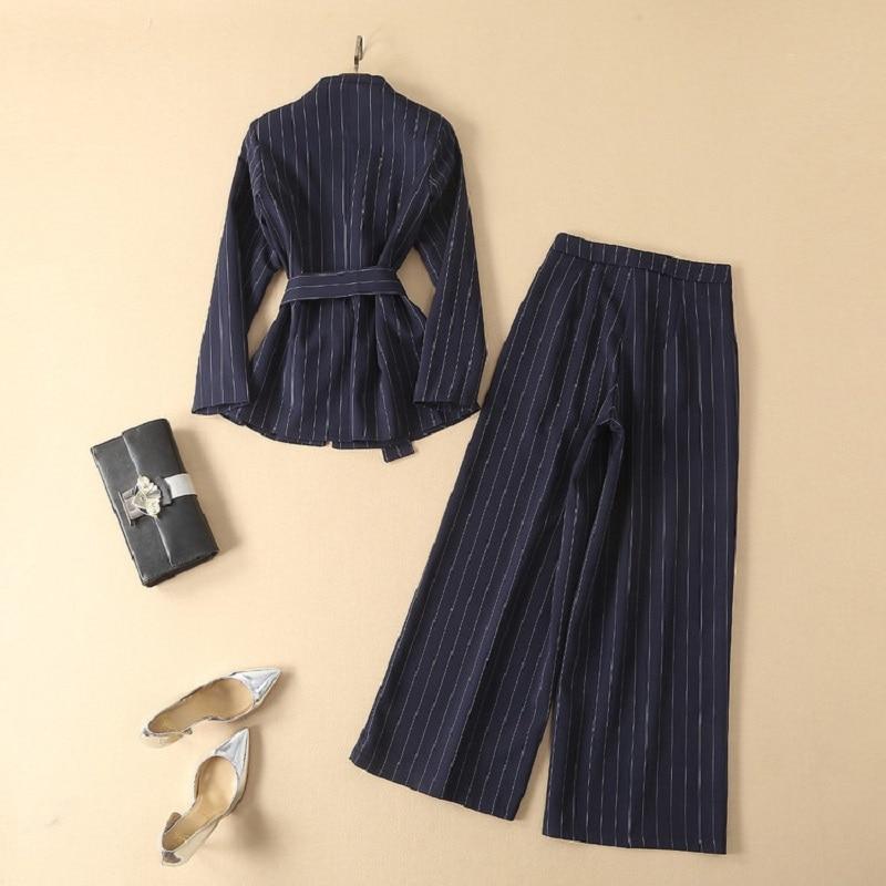 Qualité Veste Pantalon Femmes Travail Définit Mode Bouton Jambe Supérieure Manteau Imprimer Costumes Hauts Large Femme De Couvert Rayé Vêtements rnSrxgqw7R