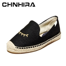CHNHIRA women Espadrille Loafers with eyes Eyelash Embroidery Hemp Bottom Frisherman Shoes Slip On flat shoes for lady #CH386