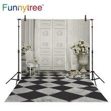 Funnytree fotografia fundo Europeu flor do vintage quadrado sala de casamento pano de fundo photo studio photobooth prop foto