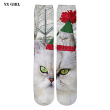 2018 NEW 3d Printed Christmas Cat/Dog/Penguin Socks Women/Men Santa Cotton Warm Cartoon Ankle Sock High Quality Funny