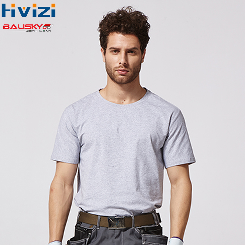 100% Cotton Overalls Short Sleeve Breathable T-shirts Working Uniforms Summer Work Wear Safety Clothing Work Shirts B227