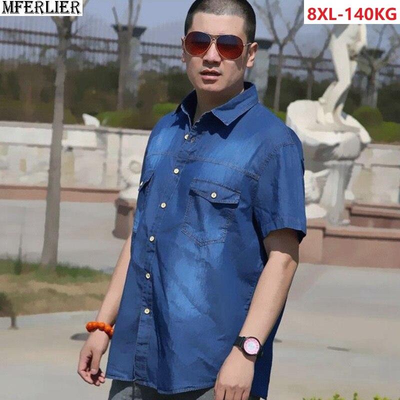 Plus Size Big 8XL Men's Denim Shirts Short Sleeve 100% Cotton Shirt For Men Pocket Summer Father Shirts 7XL 9XL Casual Shirts 56