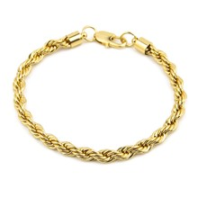 24k Gold color Filled Chain for Men and Women Twist Bracelet Gold rope Chain High Quality(China)