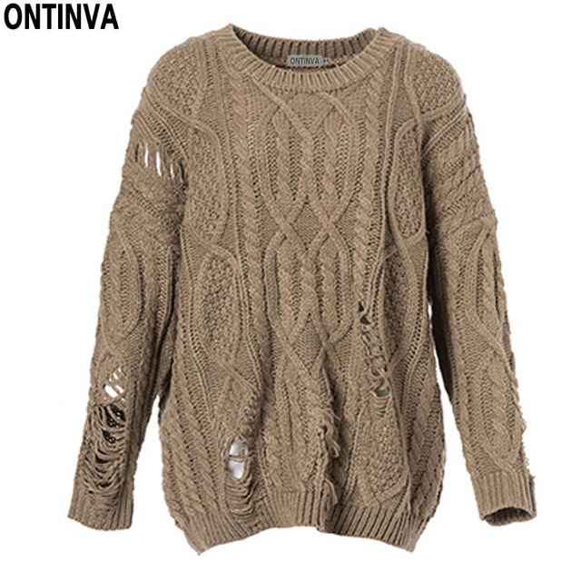 Girls Hollow Loose Sweaters Women Spring Ladies Holes Pullovers Red Khaki O  Neck Full Sleeve Casual b5c7349aa7ed