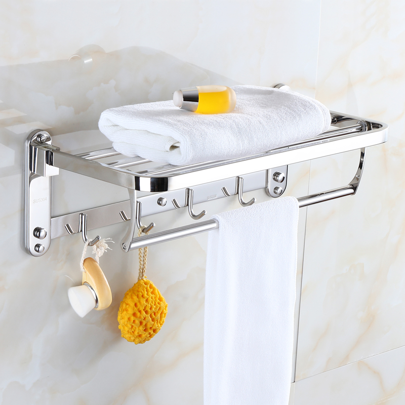 Bathroom Shelves 2 Tier Solid Stainless Steel Towel Racks Bath Shelf Towel Holder Hanger Wall Mounted Luxury Home Deco Towel Bar viborg deluxe sus304 stainless steel foldable wall mounted bathroom towel rack shelf towel holder storage
