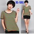 2015 mujeres de moda manga corta raya camiseta juniors camiseta de algodón flojo mujer ropa tops camisetas casual más size1640 XXXXXL
