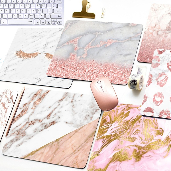 Mairuige Cool Rose Gold Marble Keyboard Mat Desk Mat Durable Desktop Mousepad Rubber Professional Gaming Mouse Pad Computer
