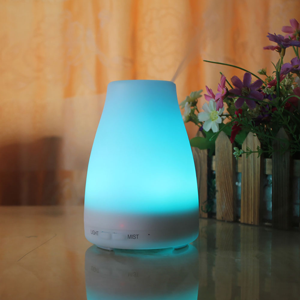 New Mini Ultrasonic Air Humidifier 7 Colors LED Light Essential Oil Aroma Diffuser Aromatherapy Home Office Mist Maker Fogger crdc air humidifier ultrasonic 100ml aroma diffuser glass essential oil diffuser mist maker with 7 colors changing led light