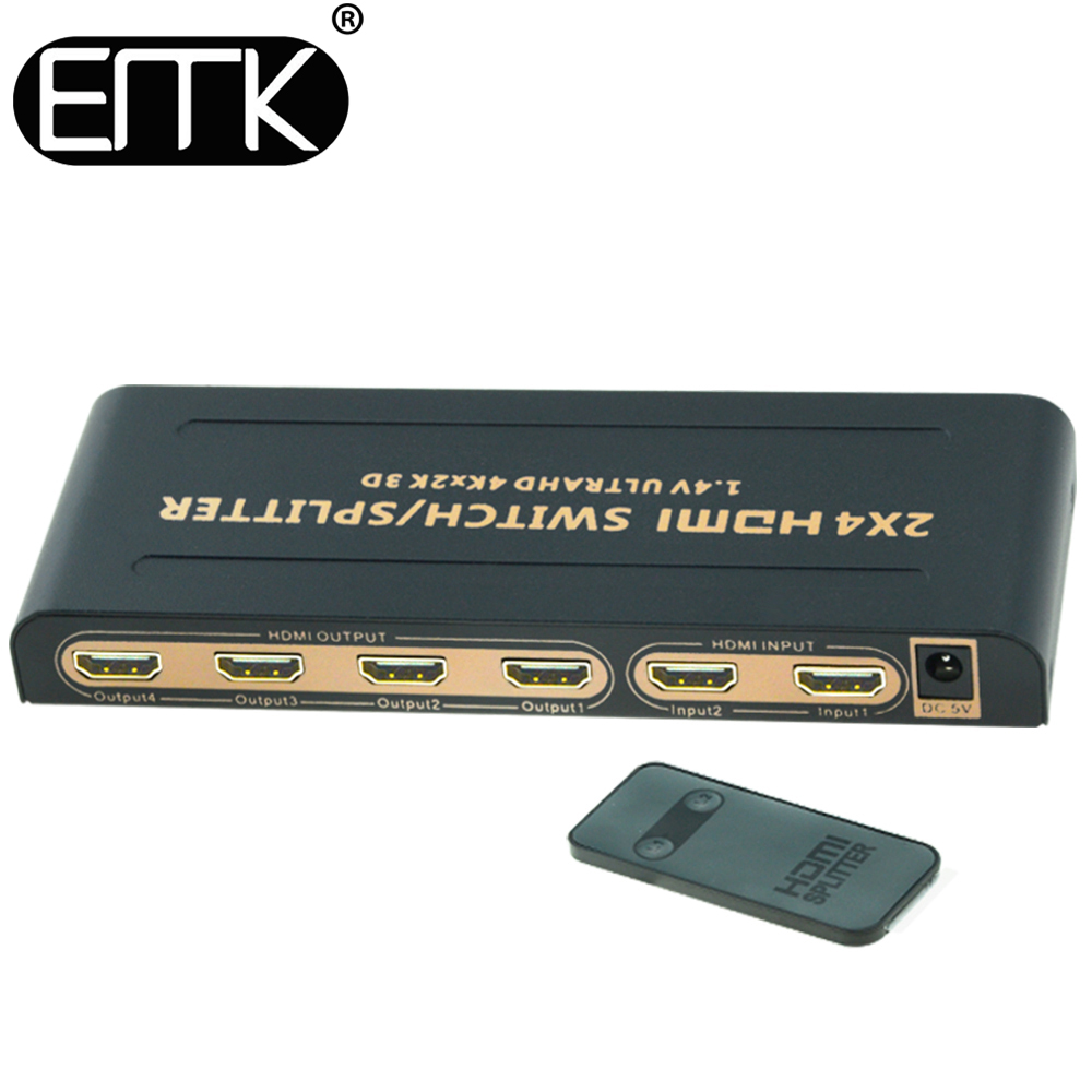 EMK 4Kx2K 2 in 4 Out HDMI Switch Splitter 2x4,2 input 4 output HDMI TV Matrix Switcher 2 to 4 Used by IR Remote with power DC5V doitop 4x1 hdmi multi viewer hdmi quad screen real time multi viewer hdmi splitter seamless switcher 1080p 60hz 3d ir control
