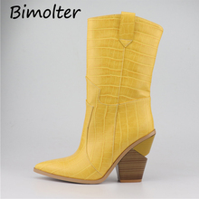 Bimolter Brand Microfiber Women Mid-calf High Boots Sexy Pointed Toe Heels Shoes Woman 2019 Womens Ladies B130
