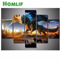 5d Diamond Mosaic Full Diamond Embroidery Dragon 5 Pcs Animal 3d Diy Diamond Painting Cross Stitch