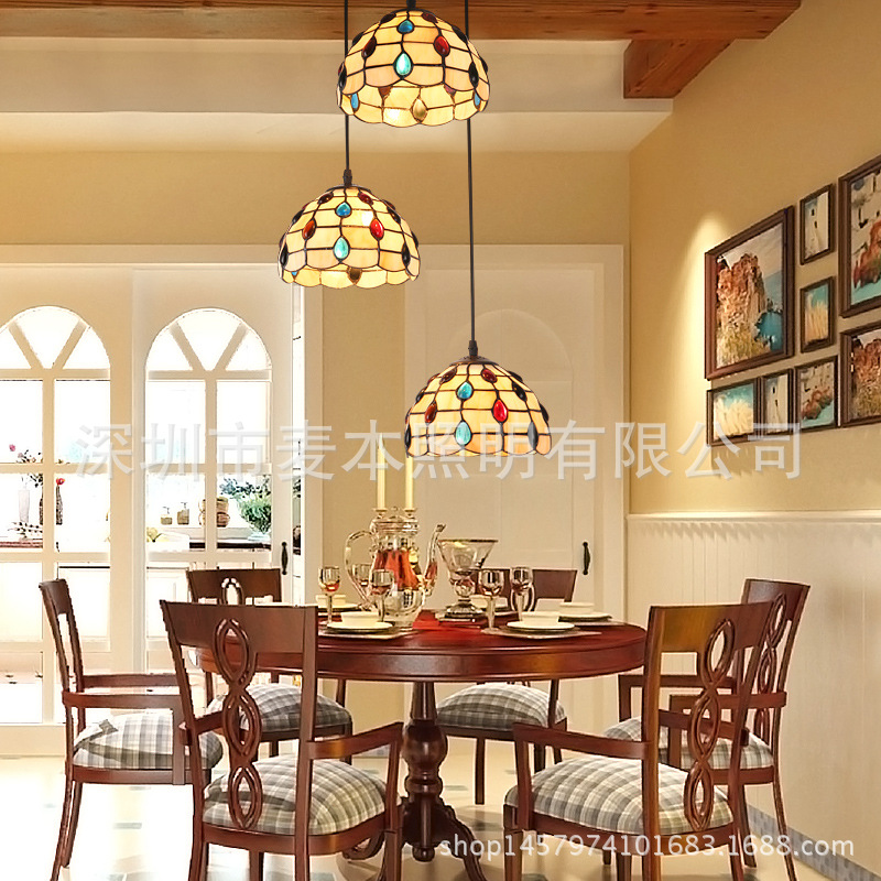 European pastoral light retro personality creative restaurant Pendant Lights three bar dining room baroque Pendant lamp LU1027
