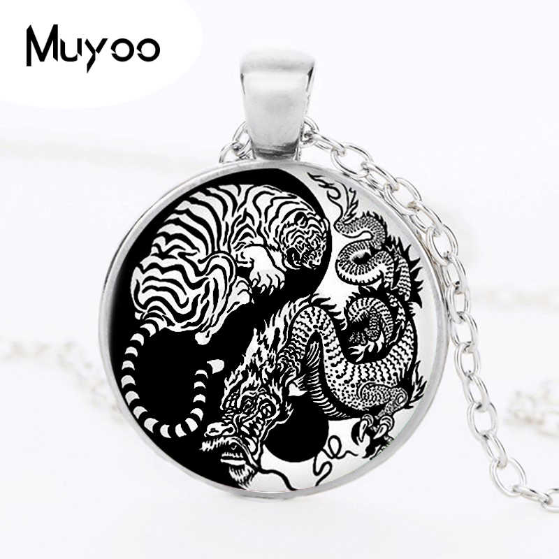 Vintage Art Yin Yang Dradon and Tiger Necklace Pendant Kolye Cabochon Black Long Chain Statement Necklace For Boys HZ1